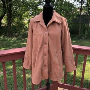 Susan Graver Fleece Brown Fall Coat, sz Med
